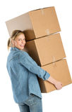 Happy Woman Carrying Stacked Cardboard Boxes Stock Photos
