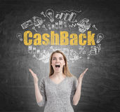 Happy woman and cash back, blackboard Royalty Free Stock Photography