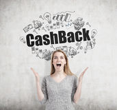 Happy woman and cash back, concrete Royalty Free Stock Image