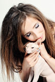 Happy Woman and Cat Hairless. Sphynx Stock Photo