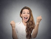 Happy woman celebrates success Royalty Free Stock Photo