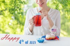 Happy woman celebrating american independence day royalty free stock image