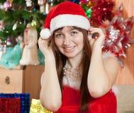 Happy woman celebrating Christmas stock photos