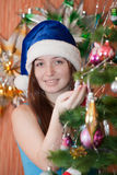 Happy woman celebrating Christmas Royalty Free Stock Photo