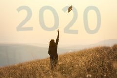 2020 new year concept with girl having fun in nature royalty free stock images