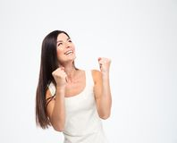 Happy woman celebrating her success Stock Photo