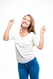 Happy woman celebrating her success Royalty Free Stock Image