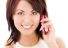 Happy woman with cell phone Royalty Free Stock Photography
