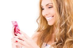 Happy woman with cell phone Stock Image