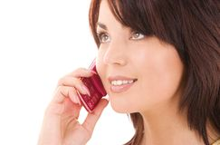 Happy woman with cell phone Stock Images