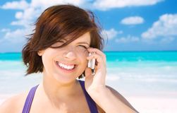 Happy woman with cell phone Stock Photo