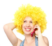 Happy woman on cell phone Stock Images