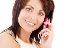 Happy woman with cell phone Royalty Free Stock Photos
