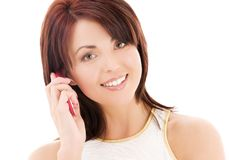 Happy woman with cell phone Stock Photography