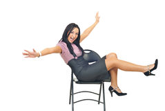 Happy woman on chair Royalty Free Stock Images