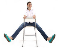 Happy woman on the chair Royalty Free Stock Images