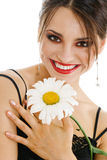 Happy woman with chamomile flower Royalty Free Stock Photo
