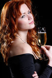 Happy woman with champagne Royalty Free Stock Images