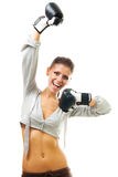 Happy woman champion of boxing tournament Stock Images