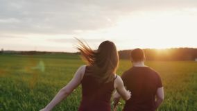 Happy woman chases her man running in field at sunset. Womans hair sway in the wind. Backview, slow mo, steadicam shot. Beautiful view of happy woman chases her stock footage