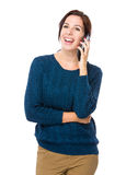 Happy woman chat on mobile phone Stock Photos