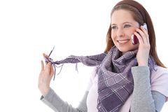 Happy woman chatting on mobile phone Stock Photos