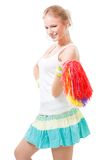 Happy woman cheer leader. With pompoms Royalty Free Stock Images