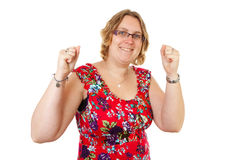 Happy woman is cheering Stock Photography