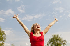 Happy woman cheering Stock Photography