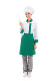 Happy woman in chef uniform with corolla - full length isolated Royalty Free Stock Photo