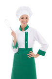 Happy woman in chef uniform with corolla isolated on white. Background Stock Photo