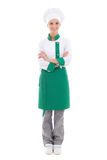 Happy woman in chef uniform - full length isolated on white. Background royalty free stock photography