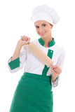 Happy woman in chef uniform with wooden baking rolling pin isola Stock Photography