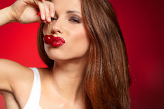 Happy woman with cherries Royalty Free Stock Image
