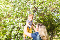 Happy woman and child in the blooming spring garden.  Mothers day holiday concept Stock Photography