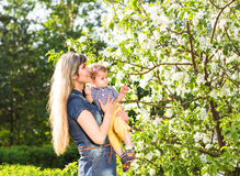 Happy woman and child in the blooming spring garden.  Mothers day holiday concept Royalty Free Stock Photos