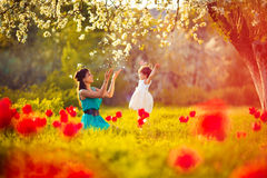 Happy woman and child in the blooming spring garden.Mothers day stock photos