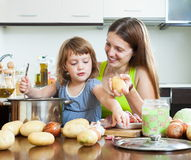 Happy woman with child cooking Stock Photo