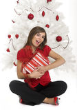 Happy woman with Chirstmas gifts Royalty Free Stock Photography