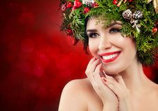 Happy Woman Christmas Concept stock photo