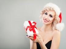 Happy Woman Christmas Concept. Xmas Model Royalty Free Stock Photo