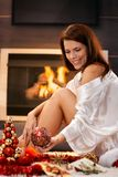 Happy woman with christmas decoration Royalty Free Stock Photo