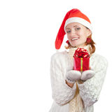 Happy woman in christmas hat Stock Image