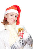 Happy woman in christmas hat with gift Royalty Free Stock Photo