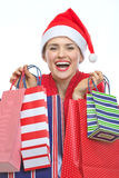 Happy woman in Christmas hat with shopping bags Stock Photos
