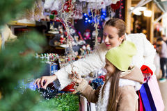 Happy woman  at Christmas market Royalty Free Stock Photos