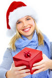 Happy woman with Christmas present Stock Photography