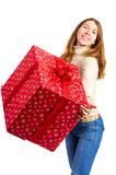 Happy woman and Christmas Present Royalty Free Stock Images