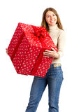 Happy woman and Christmas Present Stock Images