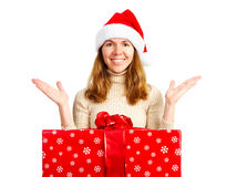 Happy woman and Christmas Present Royalty Free Stock Photos